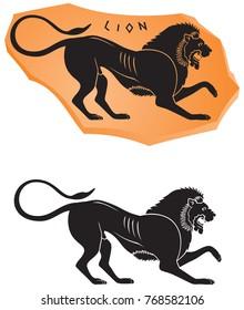 Ancient Greek ceramic style Lion icon, black figure vase painting series vector design element