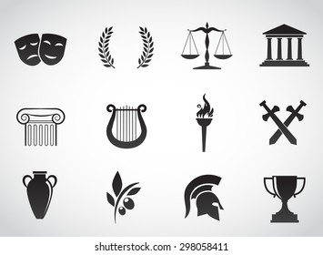 Ancient, Greek civilization. Art and culture VECTOR icon set.