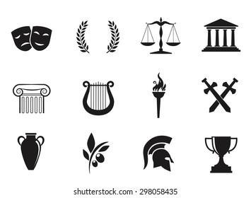 Ancient, Greek civilization. Art and culture VECTOR icon set.