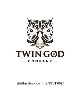 Ancient Greek Figure Face Head Statue Sculpture Logo design, Elegance logo Janus God wearing leaf crown, line linear illustration elegant logo illustration