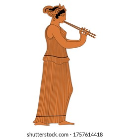Ancient Greek girl playing double flute aulos. Vase painting style. Isolated vector illustration.