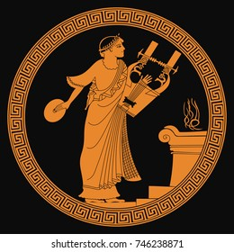 Ancient Greek god of marriage Hymen with a musical instrument in his hands. Drawing on the vase on a black background.