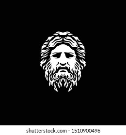 Ancient Greek God Sculpture Philosopher Face like Zeus Triton Neptune with Beard and Mustache logo design