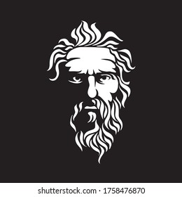 Ancient Greek God Sculpture Philosopher Face like Zeus Triton Neptune  with Beard and Mustache logo design  Ancient Greek Philosopher Figure Face Head Statue Sculpture Logo design