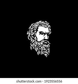 Ancient Greek God Sculpture Philosopher Face like Zeus Triton Neptune  with Beard and Mustache logo design