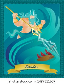 Ancient Greek God of Sea and Waters Poseidon in Crown with Gold Trident. Religion and Myth Greece Traditions and Rituals Character. Roman Neptune Ocean King. Cartoon Flat Vector Illustration, Banner