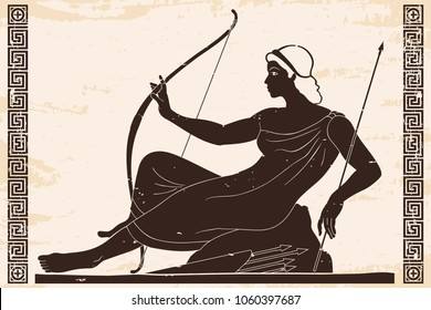Ancient Greek goddess Artemis with a bow and arrows is in the tunic. Drawing on a beige paryrus with the aging effect.