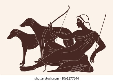 Ancient Greek goddess Artemis with a bow and arrows is in the tunic and two dogs. Drawing isolated on beige background.