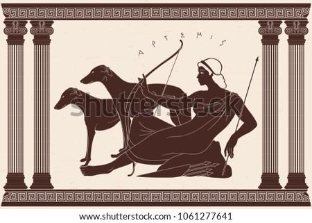 Ancient Greek Goddess Artemis Bow Arrows Stock Vector Royalty Free