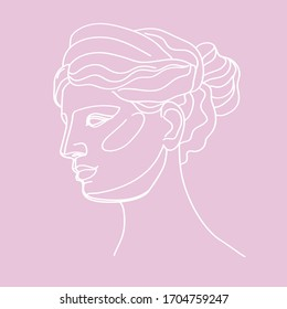 Ancient Greek goddess statue in a continuous line on a pink background. Vector illustration. Modern drawing