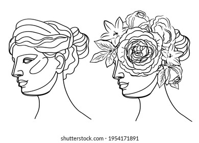 Ancient Greek goddess statue in a continuous line and flowers. Vector illustration. Modern drawing. Roman style elements. Beauty concept