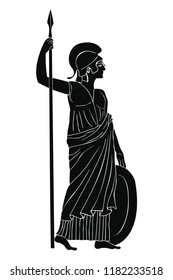 Ancient Greek goddess of war and wisdom Athena Pallada with a spear and shield in hands isolated on white background.