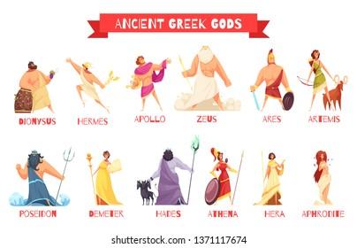 Ancient greek gods 2 horizontal cartoon figures sets with dionysus zeus poseidon aphrodite apollo athena vector illustration