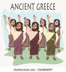 ancient greek hand vote, funny cartoon vector illustration of democracy origins