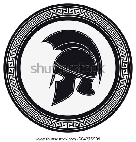 Ancient Greek Helmet Crest On Shield Stock Vector Royalty Free