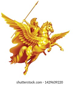 Ancient Greek hero Bellerophon on Pegasus golden on white background