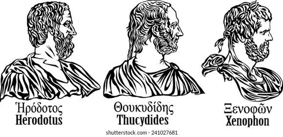 Ancient Greek historians. Herodotus, Thucydides, Xenophon.