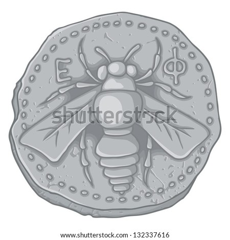 Ancient Greek Ionian Coin Ephesus 400 Stock Vector Royalty Free