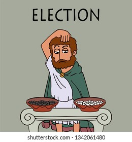 ancient greek man chooses who or what to vote for, funny cartoon vector illustration of democracy origins