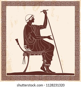 Ancient Greek man sits on a chair with a staff in his hand, speaks and gestures. Figure on a beige background with the effect of aging and ornament.