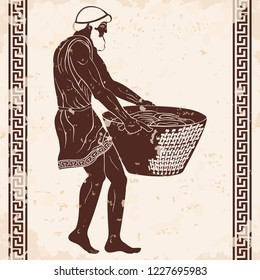 Ancient Greek man slave with a heavy basket in his hands. Figure on a beige background with the aging effect.
