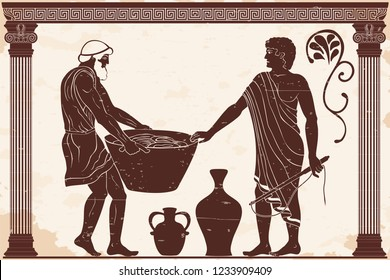 Ancient Greek mans. Manager at the household yard and his slave with a heavy basket in his hands. Figure on a beige background with the aging effect.