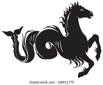 Ancient Greek mythological animal hippocampus, Poseidon sea horse, mythological creature shared by Phoenician  and Greek mythology. Seaman, warrior and Mediterranean Sea pirate symbol