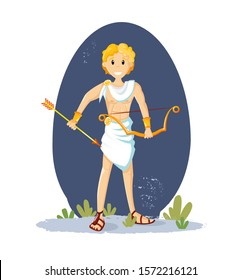 Ancient greek mythological god Apollo. Apollo, the god of sunlight, athletic man with a bow and golden arrows, and golden hair vector cartoon illustration