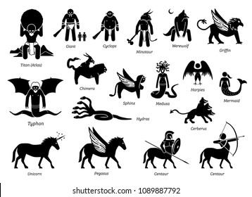 Ancient Greek Mythology Monsters and Creatures Characters Icon Set