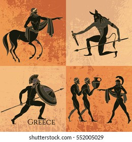 Ancient Greek mythology set. Ancient Greece scene. Black figure pottery. Classical Ancient Greek style. Minotaur, gods, hero, mythology