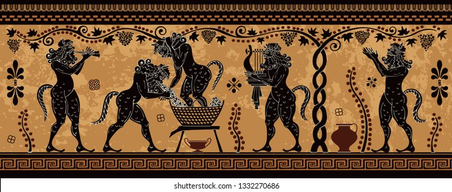Ancient greek painting.Pottery art.. Mediterranean culture.Ancient greece mythology.Ancient greek scene banner.