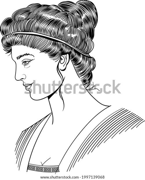 Ancient greek philosopher Hypatia, vector