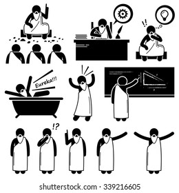 Ancient Greek Philosopher Scientist Old Man Stick Figure Pictogram Icons