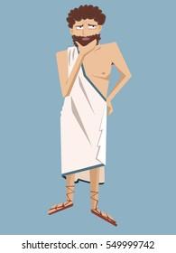 ancient greek philosopher vector cartoon