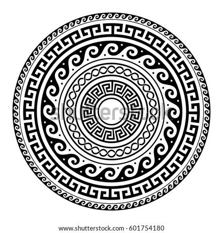 Ancient greek round key pattern meander stock vector royalty free ancient greek round key pattern meander art mandala black shape m4hsunfo