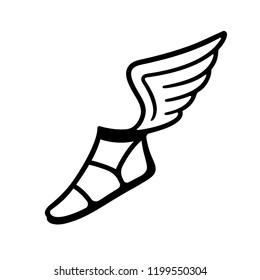 da2f9bcbe83a Ancient Greek sandal with wings. Simple black and white vector icon or  logo. Antique gods Mars and Hermes ...