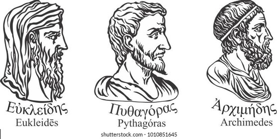 Ancient greek scientists, mathematicians and inventors Euclid, Pythagoras and Archimedes .