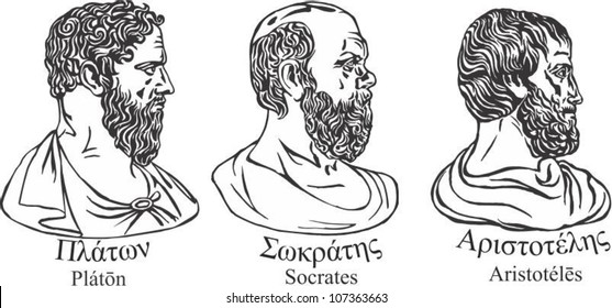 Ancient greek scientists, philosophers and thinkers Plato, Socrates and Aristotle .