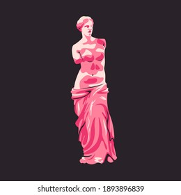 Ancient greek sculpture isolated on white vector illustration. Antique historical design element. Greece art, archeological museum emblem in cartoon style.