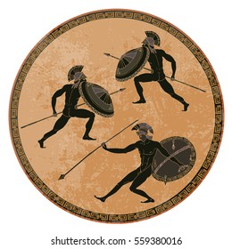 Ancient Greek soldiers. Black figure pottery. Ancient Greece mural painting. Spartans, gladiators