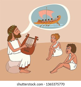 ancient greek story telling tradition, vector cartoon illustration of bard perfomance