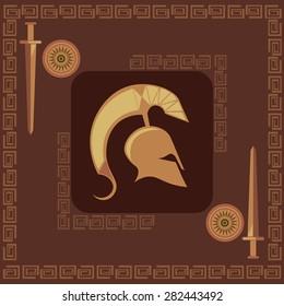 Ancient greek symbols, weapons spartan, Greek helmet Ancient sword Ancient Greece Concept