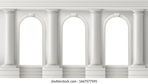 Ancient greek temple with pillars. Vector realistic antique building front with white marble arches and columns with capital in doric style. Background with roman palace entrance