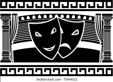 ancient greek theatre. stencil. vector illustration