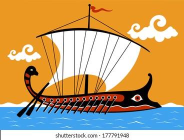 Ancient Greek trireme ship sailing on the sea. Vector illustration.