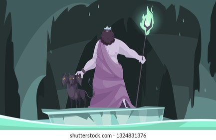 Ancient greek underworld god king of dead hades flat cartoon composition with three headed dog vector illustration