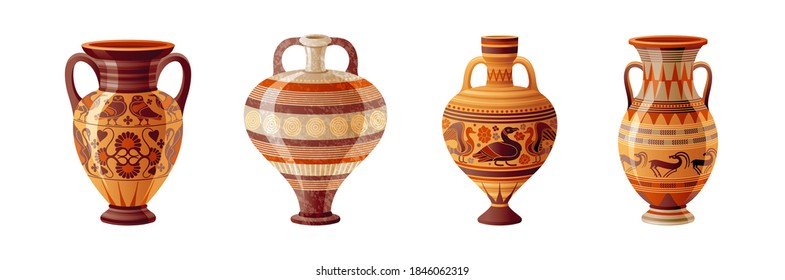 Ancient Greek vase set. Pottery vector. Antique jug from Greece. Old clay amphora, pot, urn or jar for wine and olive oil. vintage ceramic icon isolated. Flat cartoon art with ornament decoration