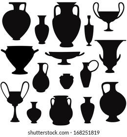 Ancient greek vase silhouette set. Greece icon collection.