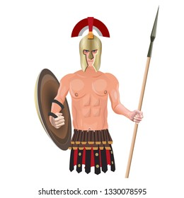 Ancient greek warrior in helmet with shield and spear. Vector illustration isolated on white background.