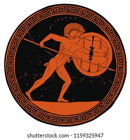 Ancient Greek warrior with a spear and shield in his hands. Figure on the bottom of the vase.